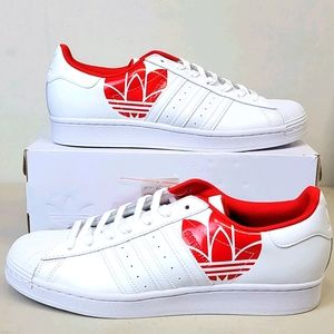 Adidas Superstar White Scarlet Red Men's Shoes